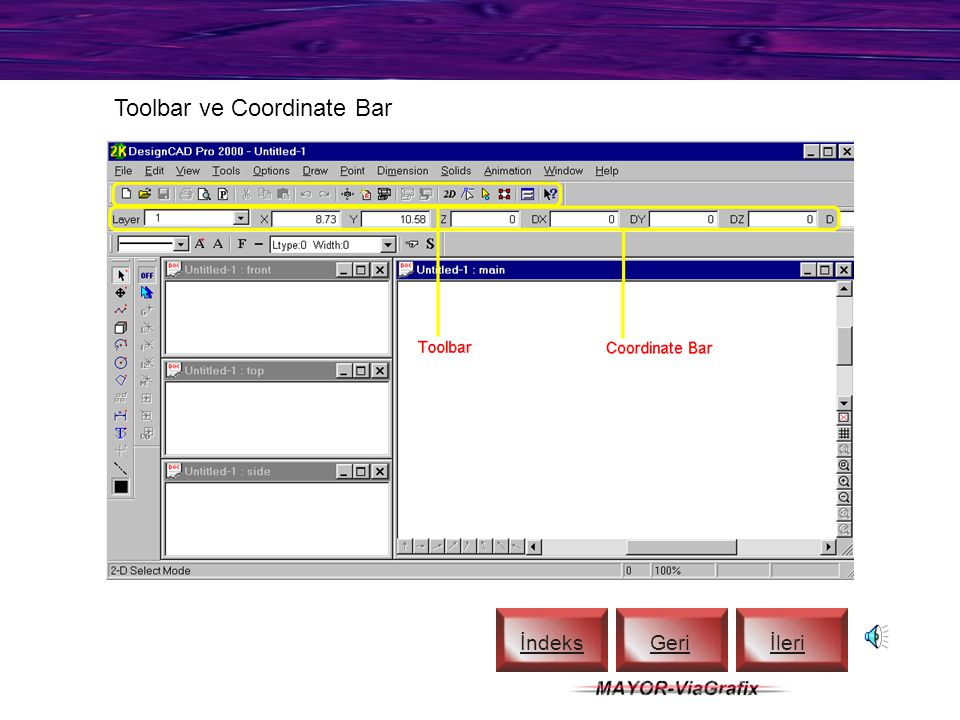 Toolbar ve Coordinate Bar