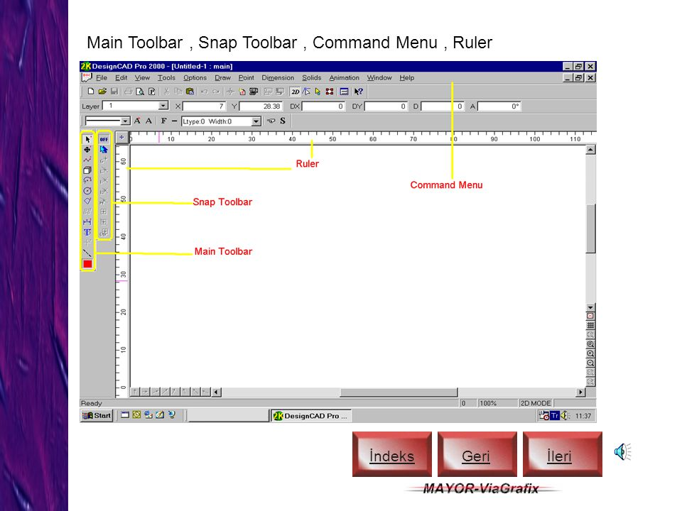 Main Toolbar , Snap Toolbar , Command Menu , Ruler