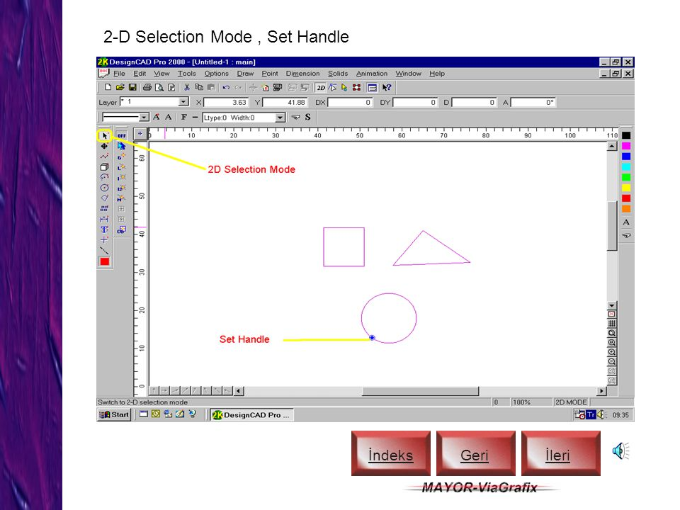 2-D Selection Mode , Set Handle
