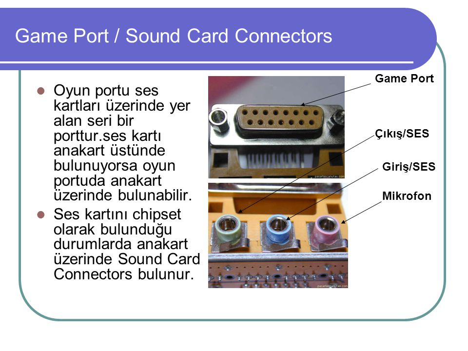 Game Port / Sound Card Connectors
