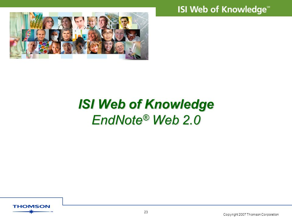 ISI Web of Knowledge EndNote® Web 2.0