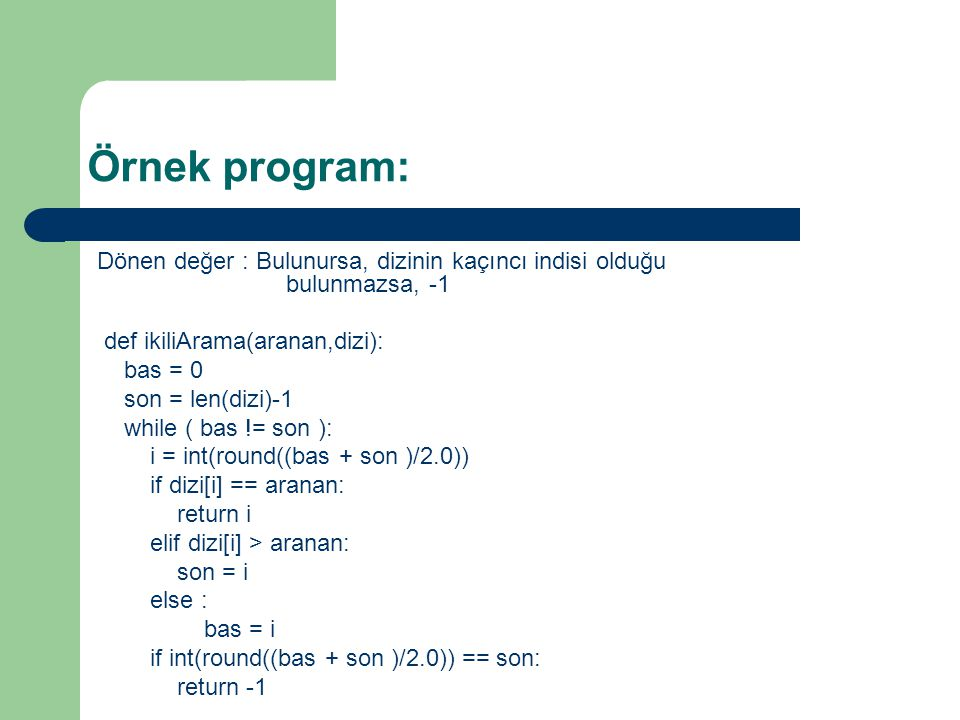 Örnek program:
