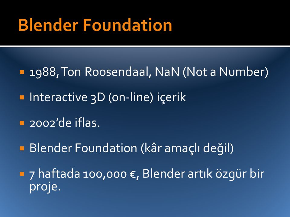 Blender Foundation 1988, Ton Roosendaal, NaN (Not a Number)