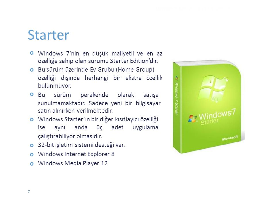 Starter WINDOWS 7 - EYLÜL 2012