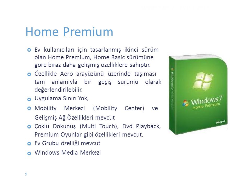 Home Premium WINDOWS 7 - EYLÜL 2012