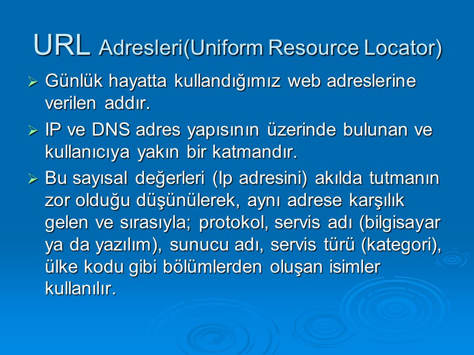 URL Adresleri(Uniform Resource Locator)