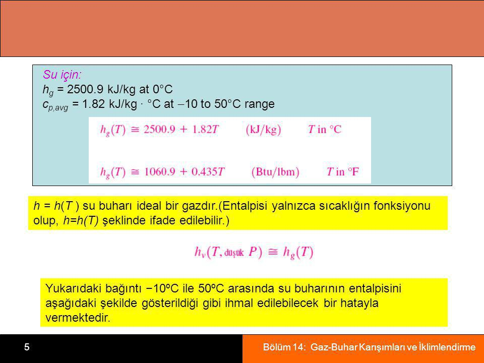Su için: hg = kJ/kg at 0°C. cp,avg = 1.82 kJ/kg · °C at 10 to 50°C range.