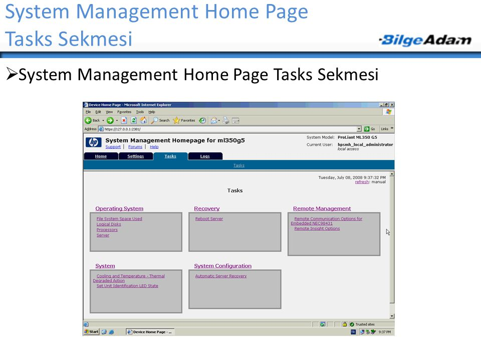 System Management Home Page Tasks Sekmesi