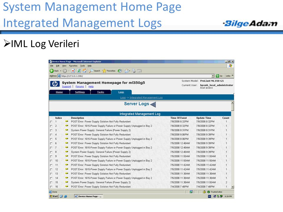 System Management Home Page Integrated Management Logs