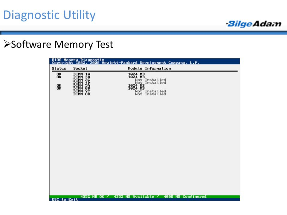 Diagnostic Utility Software Memory Test
