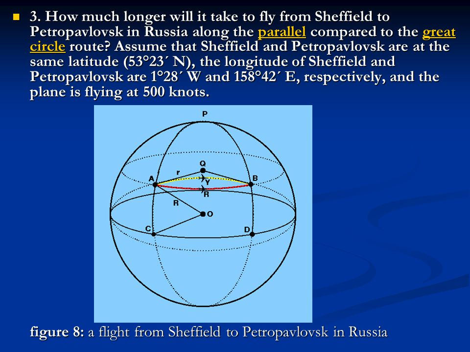 3. How much longer will it take to fly from Sheffield to Petropavlovsk in Russia along the parallel compared to the great circle route Assume that Sheffield and Petropavlovsk are at the same latitude (53°23´ N), the longitude of Sheffield and Petropavlovsk are 1°28´ W and 158°42´ E, respectively, and the plane is flying at 500 knots.