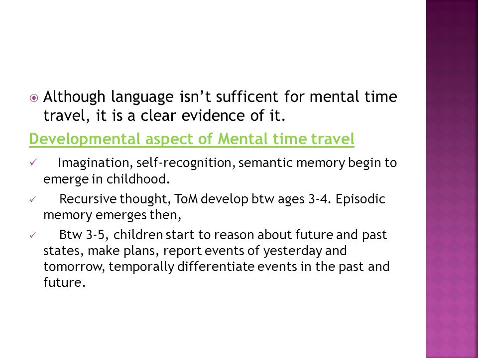 Developmental aspect of Mental time travel