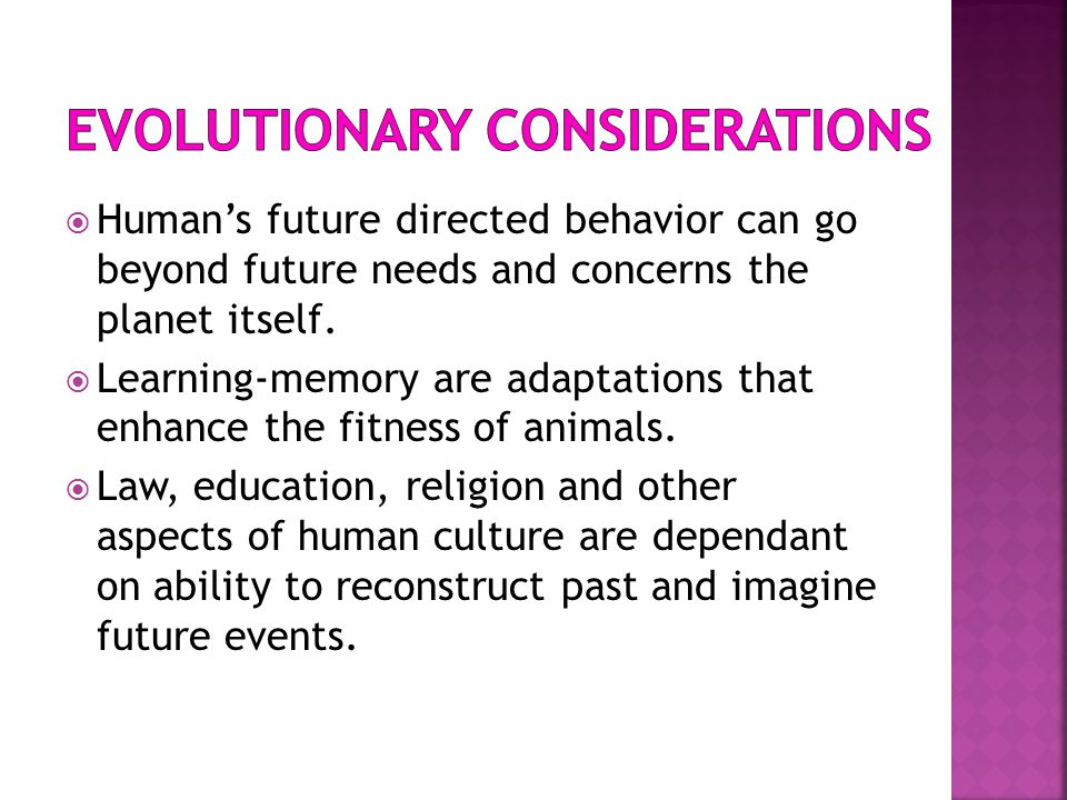 Evolutionary considerations