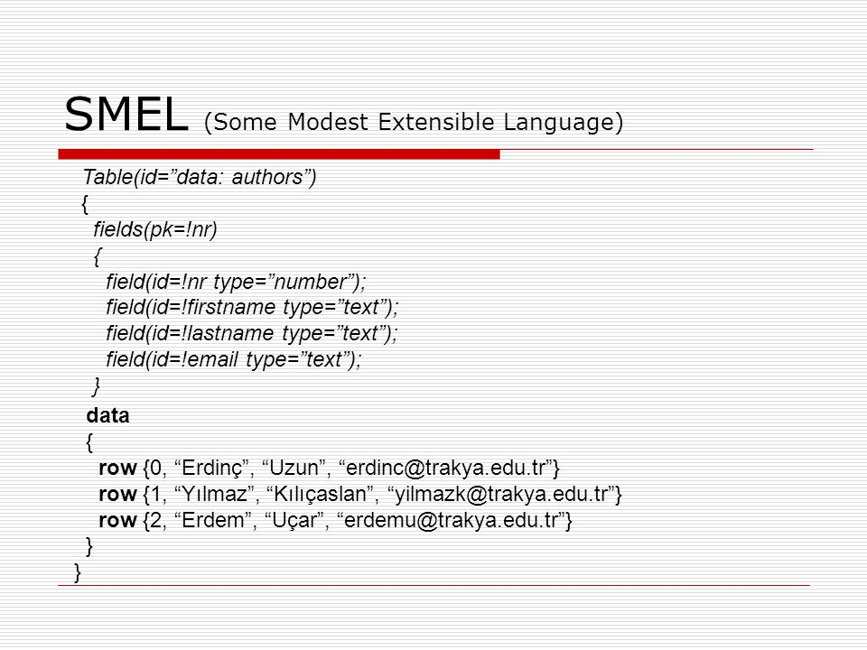 SMEL (Some Modest Extensible Language)