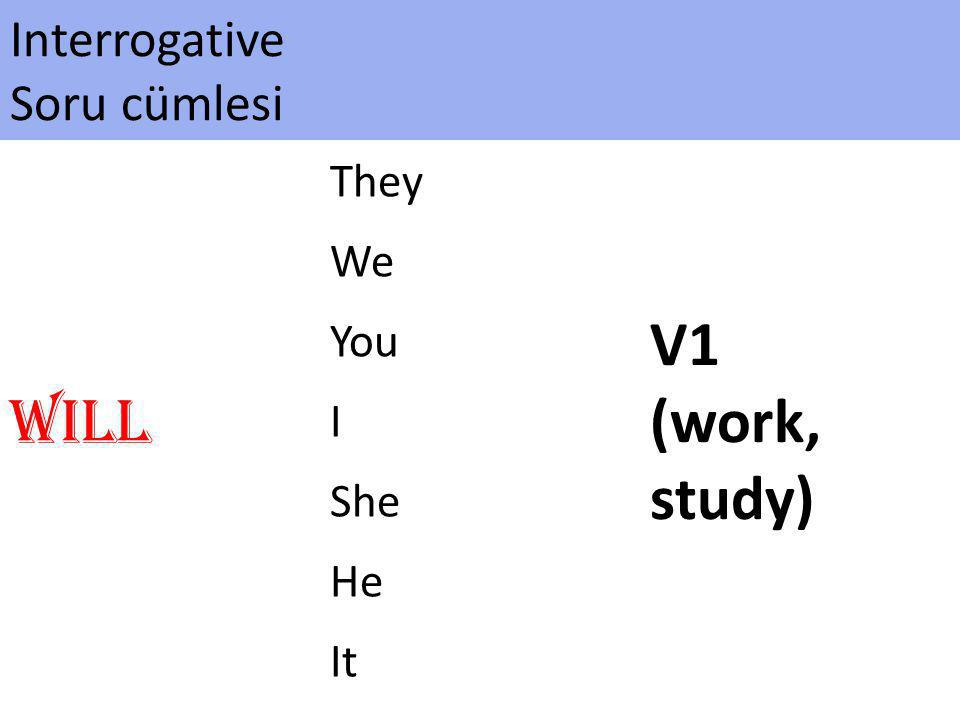 V1 (work, study) Will Interrogative Soru cümlesi They We You I She He