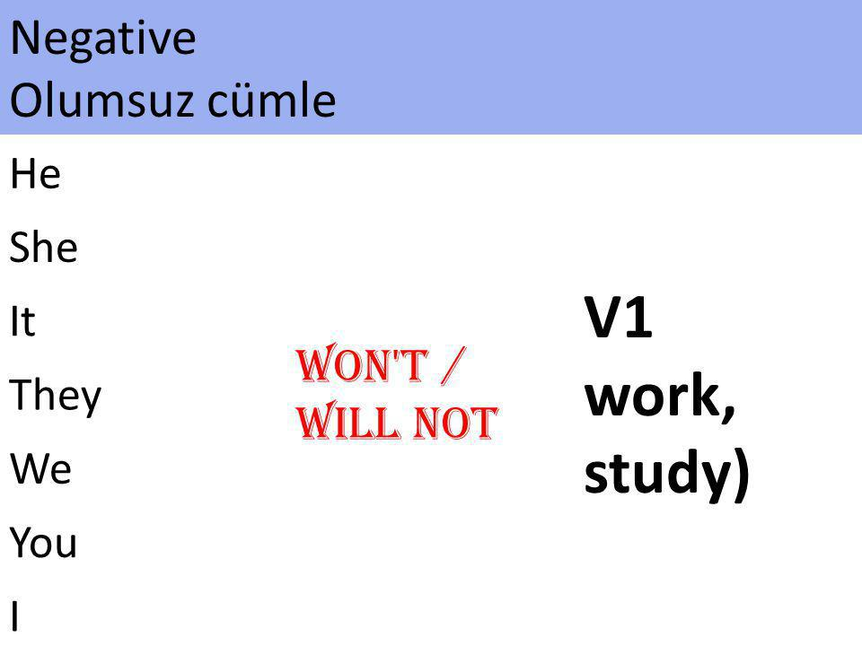 V1 work, study) Negative Olumsuz cümle Won t / Will not He She It They