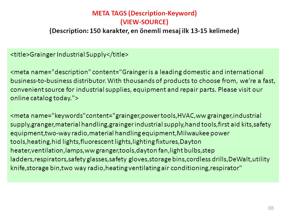 META TAGS (Description-Keyword) (VIEW-SOURCE)