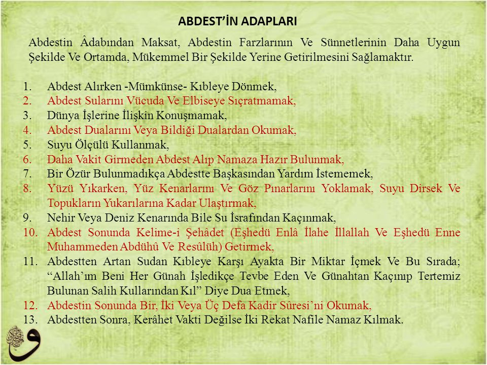ABDEST'İN ADAPLARI