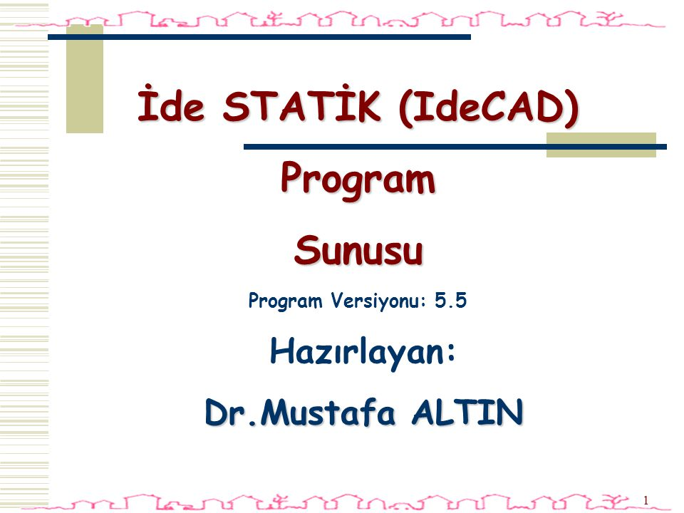 İde STATİK (IdeCAD) Program