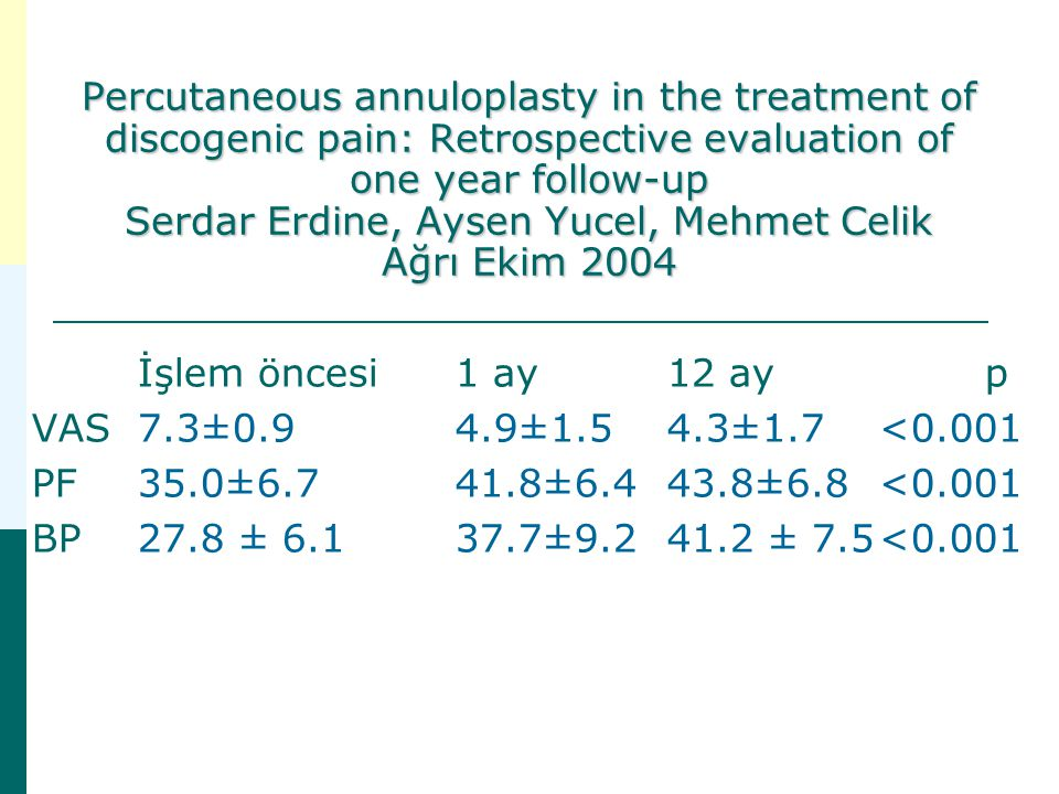 Percutaneous annuloplasty in the treatment of discogenic pain: Retrospective evaluation of one year follow-up Serdar Erdine, Aysen Yucel, Mehmet Celik Ağrı Ekim 2004