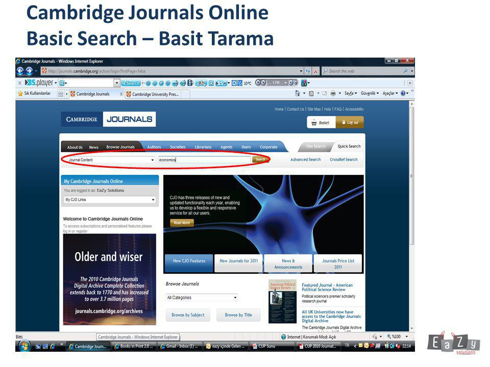 Cambridge Journals Online Basic Search – Basit Tarama