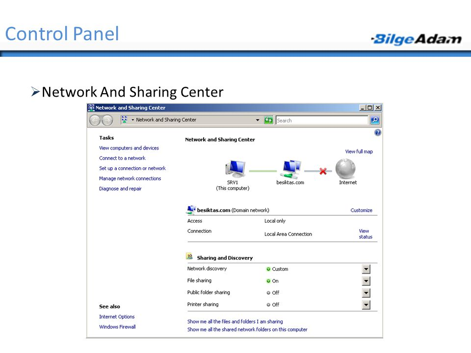 Control Panel Network And Sharing Center