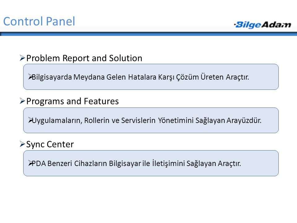 Control Panel Problem Report and Solution Programs and Features