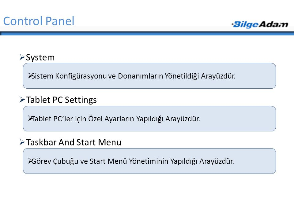 Control Panel System Tablet PC Settings Taskbar And Start Menu