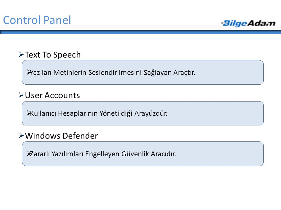Control Panel Text To Speech User Accounts Windows Defender