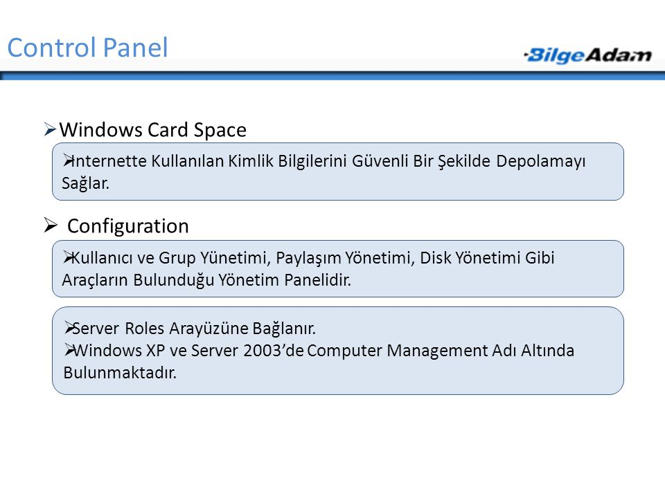 Control Panel Windows Card Space Configuration