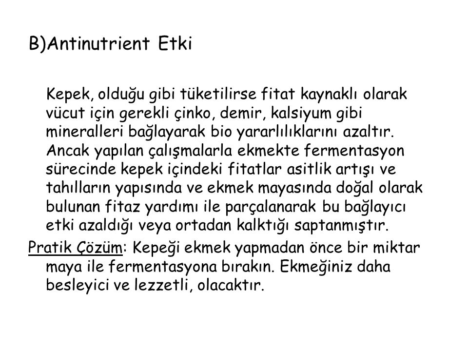 B)Antinutrient Etki