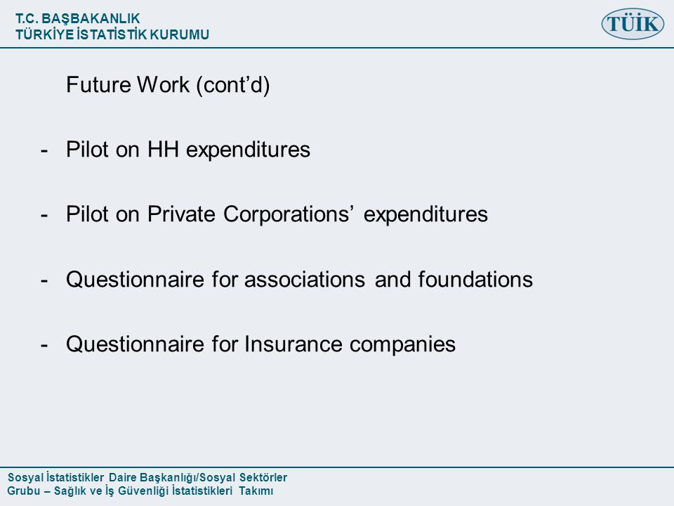 Future Work (cont'd) Pilot on HH expenditures. Pilot on Private Corporations' expenditures. Questionnaire for associations and foundations.