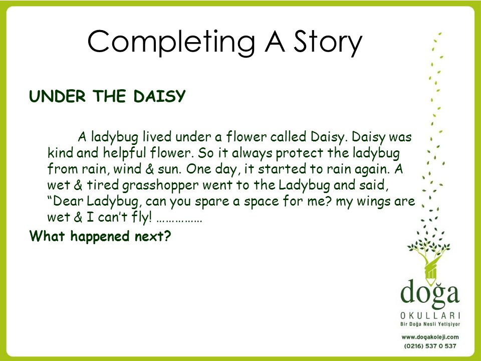 Completing A Story UNDER THE DAISY
