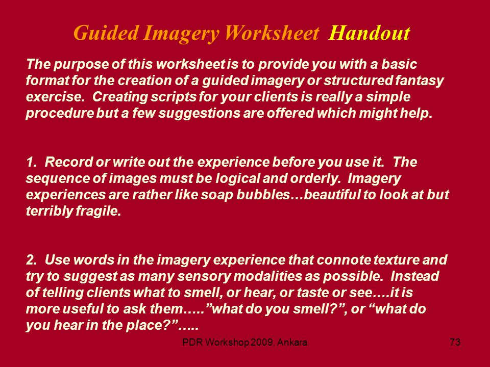Guided Imagery Worksheet Handout