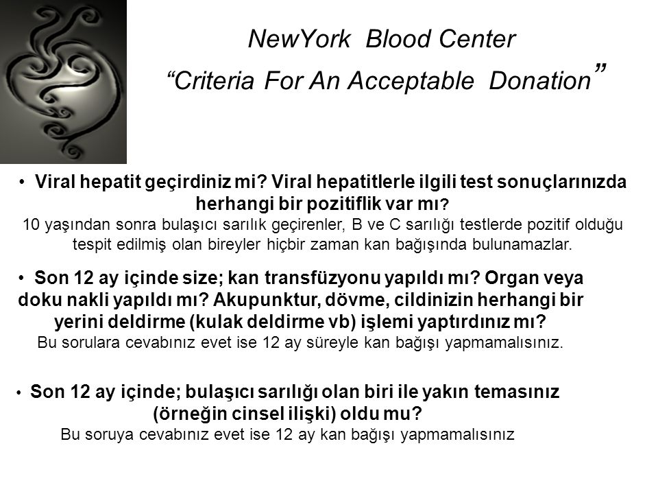 NewYork Blood Center Criteria For An Acceptable Donation