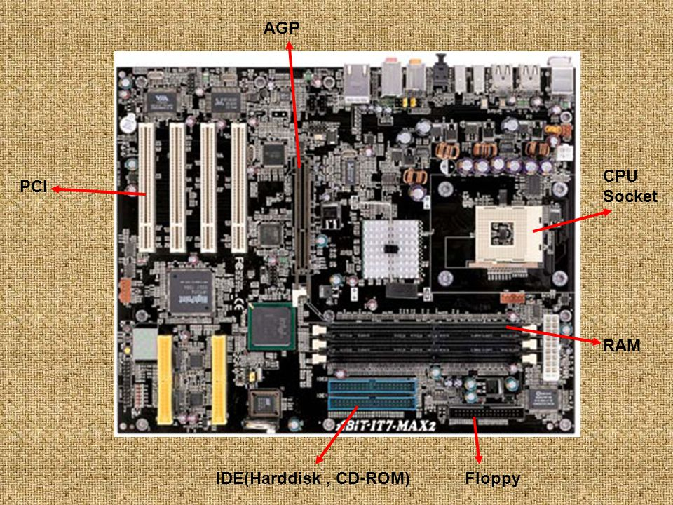 AGP CPU Socket PCI RAM IDE(Harddisk , CD-ROM) Floppy