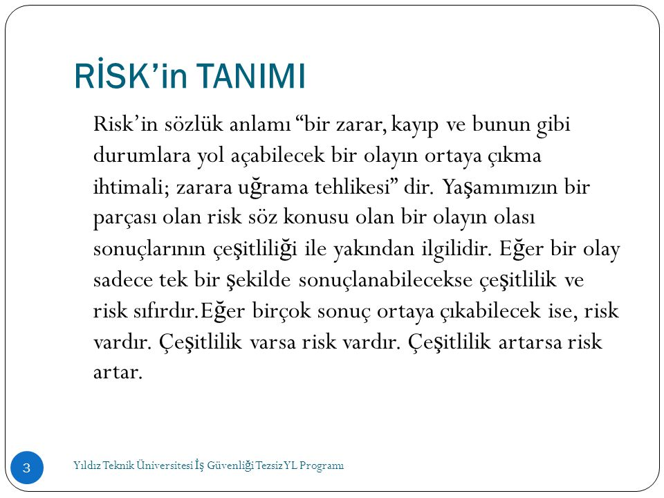 RİSK'in TANIMI
