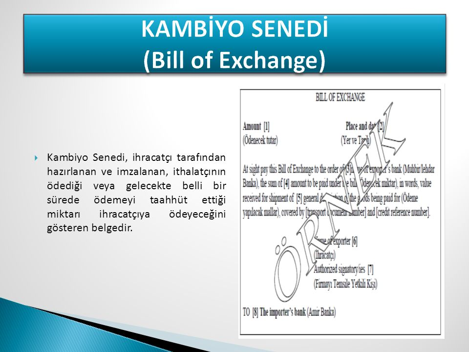 KAMBİYO SENEDİ (Bill of Exchange)