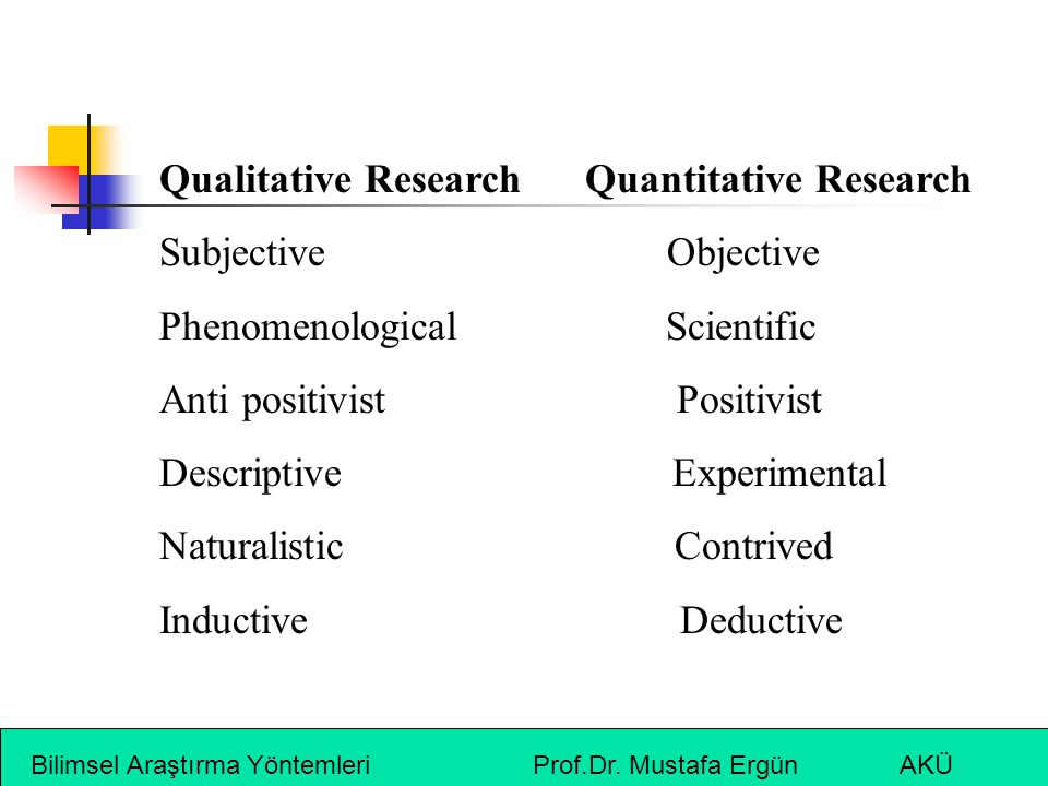 Qualitative Research Quantitative Research Subjective Objective