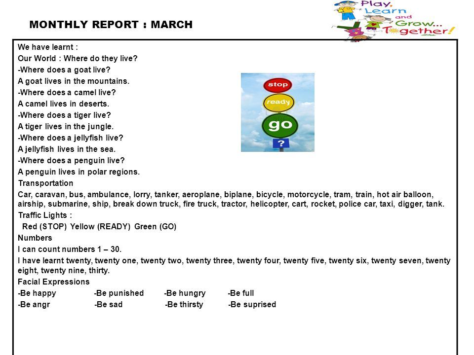 MONTHLY REPORT : MARCH We have learnt :