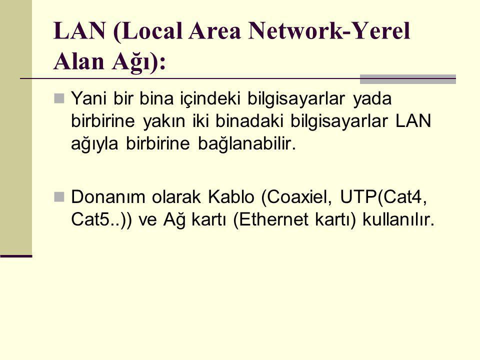 LAN (Local Area Network-Yerel Alan Ağı):