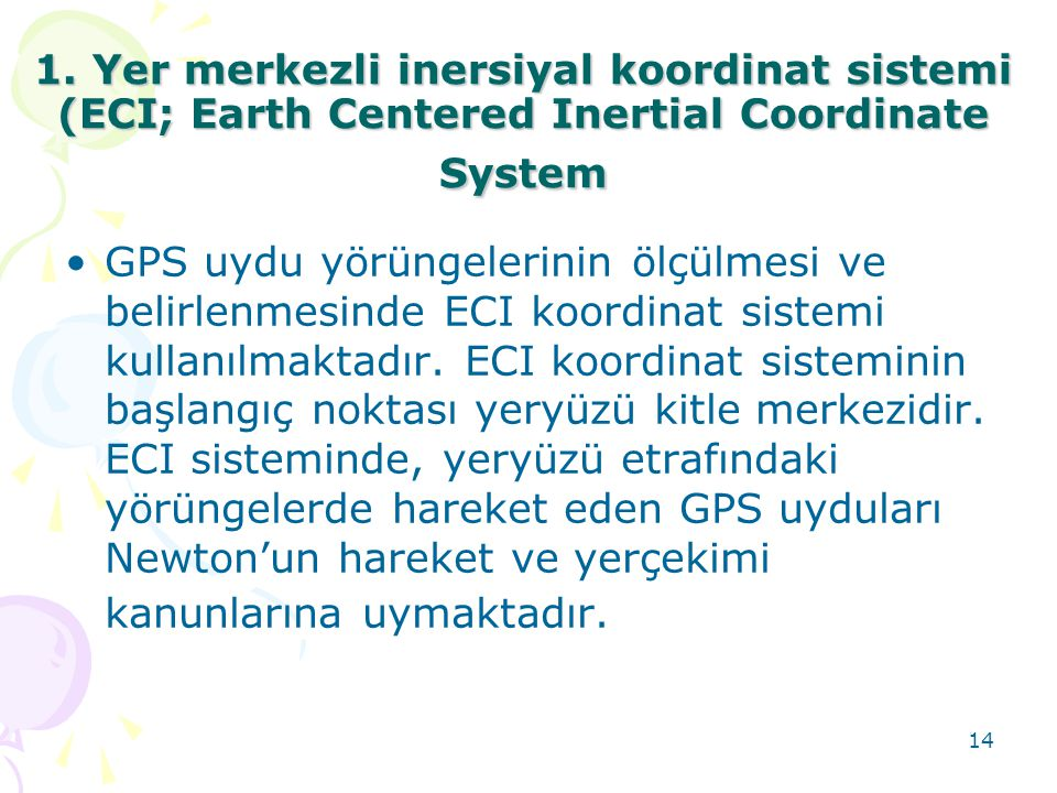 1. Yer merkezli inersiyal koordinat sistemi (ECI; Earth Centered Inertial Coordinate System