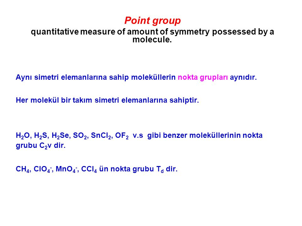quantitative measure of amount of symmetry possessed by a molecule.