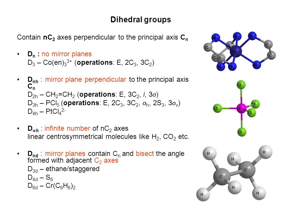 Dihedral groups Contain nC2 axes perpendicular to the principal axis Cn. Dn : no mirror planes. D3 – Co(en)33+ (operations: E, 2C3, 3C2)