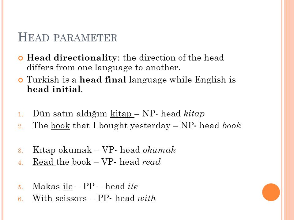 Head parameter Head directionality: the direction of the head differs from one language to another.