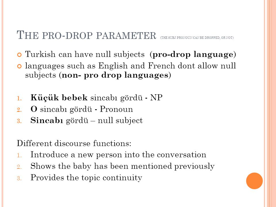 The pro-drop parameter (the subj pronoun can be dropped, or not)