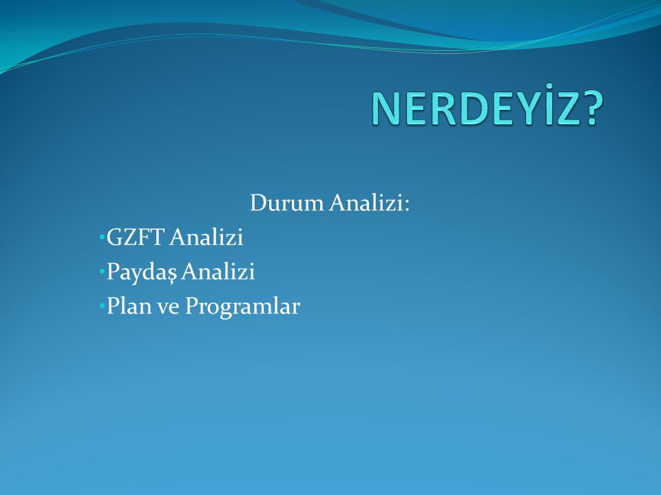 Durum Analizi: GZFT Analizi Paydaş Analizi Plan ve Programlar