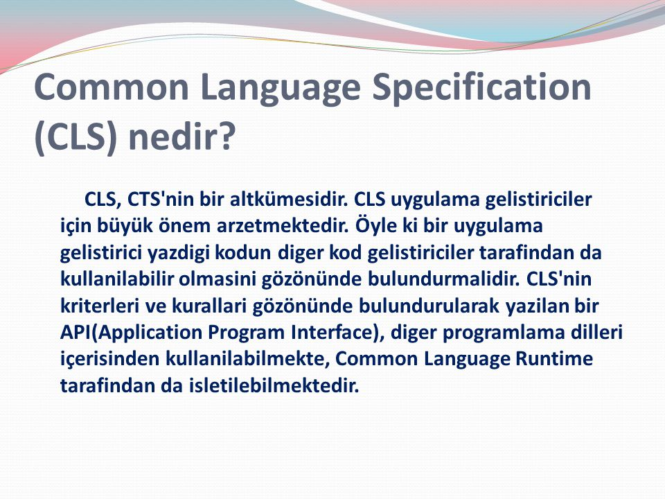 Common Language Specification (CLS) nedir
