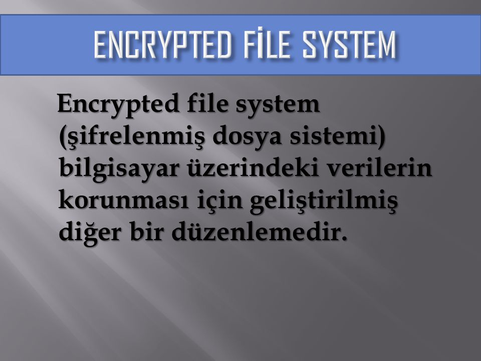 ENCRYPTED FİLE SYSTEM