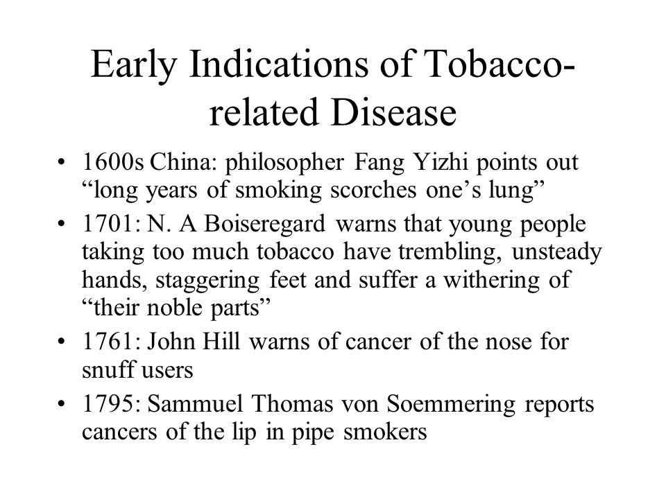 Early Indications of Tobacco-related Disease